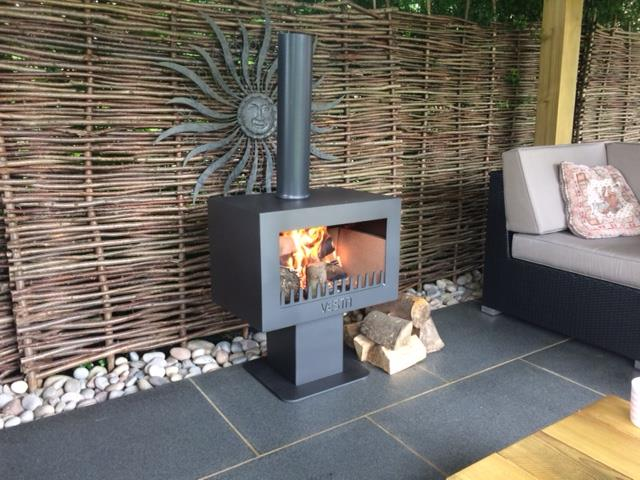 patio log burner with chimney