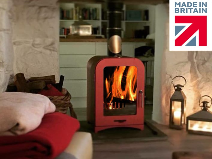 8kw wood burning sstove red 2